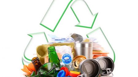 Image of garbage and the recycle logo